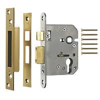 ERA Polished Brass Euro Sashlock 76mm Case - 56mm Backset