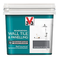 V33 Wall Tile & Panelling Paint Satin Anthracite Grey 750ml