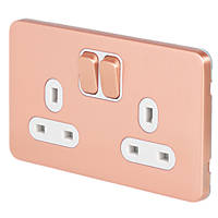Schneider Electric Lisse Deco 13A 2-Gang DP Switched Socket Anti-Microbial Copper  with White Inserts