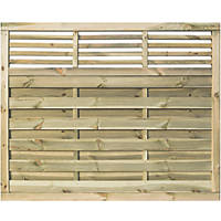 Rowlinson Langham Double-Slatted Open-Bar Top Fence Panel 6 x 5' Pack of 3