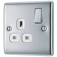 British General Nexus Metal 13A 1-Gang DP Switched Plug Socket Polished Chrome  with White Inserts
