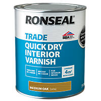 Ronseal Interior Varnish Satin Medium Oak 750ml