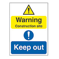 """Warning Construction Site Keep Out"" Sign 300 x 400mm 25 Pack"