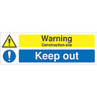 """Warning Construction Site, Keep Out"" Sign 200 x 600mm"