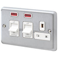 MK Albany Plus 45A 2-Gang DP Cooker Switch & 13A DP Switched Socket Brushed Chrome with Neon with White Inserts