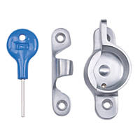 Carlisle Brass Locking Sash Fastener Fitch Pattern Satin Chrome 68 x 25mm