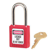 Master Lock Keyed-Alike Safety Lock-Off Padlock Red 20 x 38mm