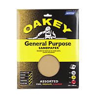 Oakey Assorted Sandpaper Unpunched 230 x 280mm Assorted Grit 10 Pack