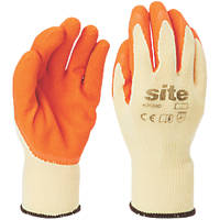 Site KF380 Latex Builders Gloves Orange / Yellow  X Large