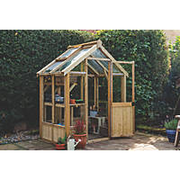 Forest Vale Wooden Frame Toughened Glass Greenhouse 6' x 4'