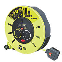 PRO XT  13A 2-Gang 10m Cable Reel + 2.1A 2G USB Charger 240V