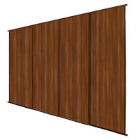 Spacepro Classic 4 Door Sliding Wardrobe Door Kit Walnut 2978 x 2260mm
