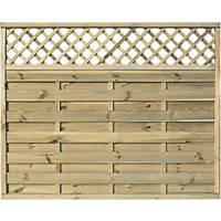 Rowlinson Halkin Double-Slatted Lattice Top Fence Panel 6 x 5' Pack of 3