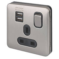 Schneider Electric Lisse Deco 13A 1-Gang SP Switched Socket + 2.1A 2-Outlet USB Charger Brushed Stainless Steel with Black Inserts