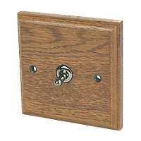 Varilight  10AX 1-Gang 2-Way Toggle Switch  Medium Oak with Colour-Matched Inserts
