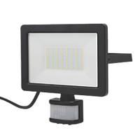LAP  Outdoor LED Floodlight With PIR Sensor Black 30W 3000lm