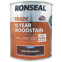 Ronseal Exterior Woodstain Satin Deep Mahogany 750ml