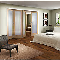 Jeld-Wen Room Fold 4-Door 1-Obscure Light Unfinished Oak Wooden 1-Panel Shaker Internal Bi-Fold Room Divider 2047 x 2545mm