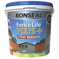 Ronseal Fence Life Plus Shed & Fence Treatment Sage 9Ltr