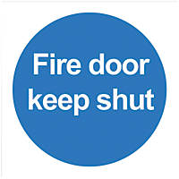 'Fire Door Keep Shut' Signs 100 x 100mm 100 Pack