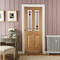 Jeld-Wen Oregon Mackintosh 2-Semi-Translucent Light Unfinished Oak Veneer Wooden 4-Panel Internal Door 1981 x 838mm