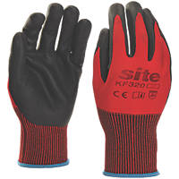 Site KF320 Nitrile Foam Coated Gloves Red / Black Large