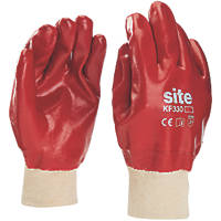 Site KF330 PVC Fully-Coated Gloves Red  Large