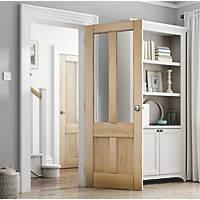 Jeld-Wen Deco 4-Clear Light Unfinished Oak Veneer Wooden 4-Panel Internal Door 1981 x 838mm