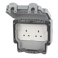 MK Masterseal Plus IP66 13A 2-Gang Weatherproof Outdoor Unswitched Socket