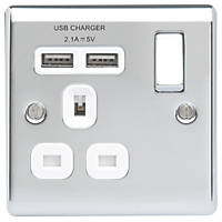 British General Nexus Metal 13A 1-Gang SP Switched Socket + 2.1A 2-Outlet Type A USB Charger Polished Chrome with White Inserts