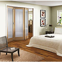 Jeld-Wen Room Fold 3-Door 1-Obscure Light Unfinished Oak Wooden 1-Panel Shaker Internal Bi-Fold Room Divider 2047 x 1929mm