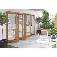 Jeld-Wen Canberra 4-Door Stained Golden Oak Wooden Slide & Fold Patio Door Set 2094 x 2994mm