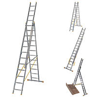 Werner 3-Section 4-Way Aluminium Combination Ladder with Stair Function   7.9m