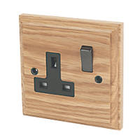 Varilight  13AX 1-Gang DP Switched Plug Socket Classic Oak  with Black Inserts