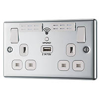 LAP  13A 2-Gang SP Switched Wi-Fi Extender Socket + 2.1A 1-Outlet Type A USB Charger Polished Chrome with White Inserts
