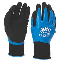Site KF460 Fully-Coated Latex Grip Gloves Blue / Black Large