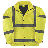 "Hi-Vis Waterproof Bomber Jacket Yellow Large 42-44"" Chest"