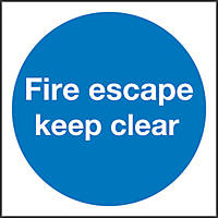 """""""Fire Escape Keep Clear"""" Sign 100 x 100mm"""