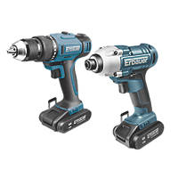 Erbauer ERI742KIT 18V 2.0Ah Li-Ion   Cordless Combi Drill & Impact Driver Twin Pack