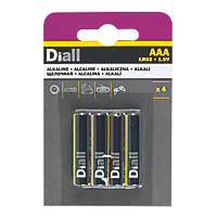 Diall Alkaline AAA Batteries 4 Pack