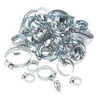 Easyfix Blue Zinc-Plated Assorted Hose Clips Pack 60 Pcs