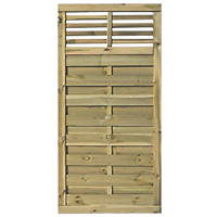 Rowlinson Langham Double-Slatted Open-Bar Top Fence Panel / Gate 3 x 6'