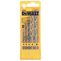 DeWalt  Straight Shank Masonry Drill Bit Set 5 Pieces