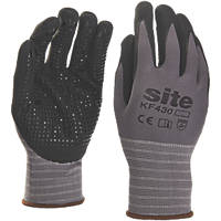 Site KF430 Micro Dot Nitrile Foam Gloves Grey / Black Large
