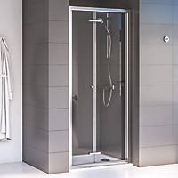 Aqualux Edge 6 Bi-Fold Shower Door Polished Silver 760 x 1900mm