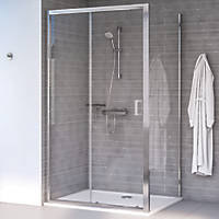 Aqualux Edge 8 Rectangular Shower Enclosure Reversible Left/Right Opening Polished Silver 1000 x 760 x 2000mm