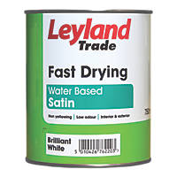 Leyland Trade Fast Drying Satin Paint Brilliant White 750ml