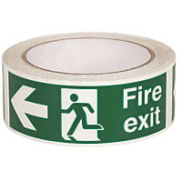 Nite-Glo Fire Exit Left Tape Green & White 40mm x 10m