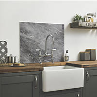Impact Glass Grey Marble Self-Adhesive Splashback 600 x 750 x 6mm