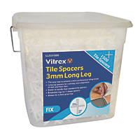 Vitrex Long Leg Tile Spacers 3mm Pack of 1500